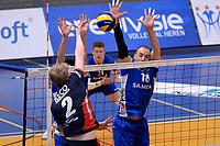 GRONINGEN - Volleybal, Lycurgus - RECO ZVH, halve finale beker, seizoen 2019-2020, 15-1-2020,  blok Lycurgus speler Dennis Borst