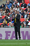 LONDON, ENGLAND - MAY 12: Newport County manager Justin Edinburgh looks on during the FA Trophy Final match between York City and Newport County at Wembley Stadium on May 12, 2012 in London, England.(Photo by Dave Horn - Extreme Aperture Photography)
