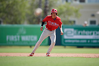 Philadelphia Phillies Juan Herrera (22) leads off first base during a Florida Instructional League game against the Baltimore Orioles on October 4, 2018 at Ed Smith Stadium in Sarasota, Florida.  (Mike Janes/Four Seam Images)