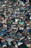 Aerial view of houses in a residential Tokyo neighborhood. Tokyo, Japan.