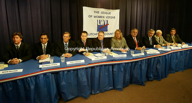 LITCHFIELD, CT 27 October 2005 -102705BZ06- Candidates for town council in Watertown (From left-) Kevin Killeen; Raymond Primini; Gary Bernier; Robert Kane; Raymond Hebert; Elaine Adams; Paul Rinaldi; Joe Pawlak; Jack Walton; and Carl R. Mancini<br /> during the start of a televised debate sponsored by the Litchfield County League of Women Voters.<br /> Jamison C. Bazinet Republican-American