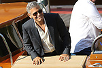 US actor, George Clooney leaves the Lido by boat during the 74th Venice Film Festival in Venice, on September 1, 2017.