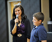 Miss Wisconsin Laura Kaeppeler took questions from the students during her visit to Blessed Sacrament School on Thursday, Oct. 6, 2011, including one from sixth grader Jacob Duszynski. Ernie Mastroianni photo.