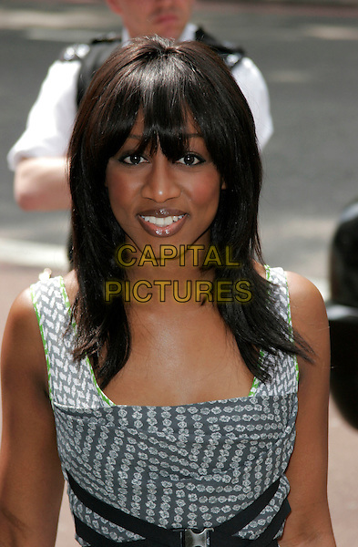 BEVERLY KNIGHT .The Ivor Novello Awards, Grosvenor House, Park Lane, London, England..May 22nd, 2008.half length white grey gray pattern beverley .CAP/AH.©Adam Houghton/Capital Pictures.