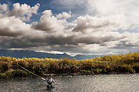 An angler fishes the East Gallatin River near Bozeman, Montana.