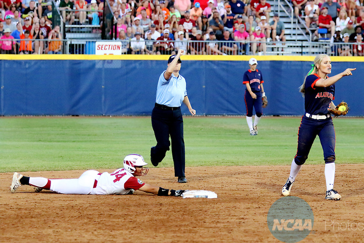 06 JUNE 2016: Fale Aviu (34) of University of Oklahoma is called out at second base against Auburn University during the Division I Women's Softball Championship held at ASA Hall of Fame Stadium in Oklahoma City, OK.  University of Oklahoma defeated Auburn University in Game 1 by the final score of 3-2. Shane Bevel/NCAA Photos