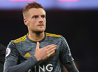Leicester City's Jamie Vardy shows his appreciation for the Leicester City fans<br /> <br /> Photographer Kevin Barnes/CameraSport<br /> <br /> The Premier League -  Cardiff City v Leicester City - Saturday 3rd November 2018 - Cardiff City Stadium - Cardiff<br /> <br /> World Copyright © 2018 CameraSport. All rights reserved. 43 Linden Ave. Countesthorpe. Leicester. England. LE8 5PG - Tel: +44 (0) 116 277 4147 - admin@camerasport.com - www.camerasport.com