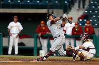 R. J. Ybarra #14 of the Arizona State Sun Devils bats against the USC Trojans at Dedeaux Field on April 12, 2013 in Los Angeles, California. USC defeated Arizona State, 5-0. (Larry Goren/Four Seam Images)