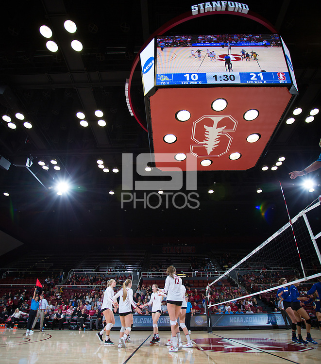 STANFORD, CA - December 1, 2017: Kathryn Plummer, Jenna Gray, Merete Lutz, Meghan McClure at Maples Pavilion. The Stanford Cardinal defeated the CSU Bakersfield Roadrunners 3-0 in the first round of the NCAA tournament.