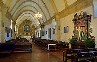 Monterey County, CA<br /> Basilica interior and alter of the Carmel Mission Basilica (1797) - Mission San Carlos Borromeo del Rio Carmelo