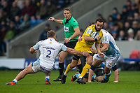 24th November 2019; AJ Bell Stadium, Salford, Lancashire, England; European Champions Cup Rugby, Sale Sharks versus La Rochelle; Alexi Bales of La Rochelle about to be tackled by Akker van der Merwe of Sale Sharks - Editorial Use