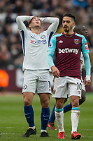 Eden Hazard of Chelsea holds his head after a missed opportunity during the Premier League match between West Ham United and Chelsea at the Olympic Park, London, England on 9 December 2017. Photo by Andy Rowland.