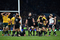 Kieran Read of New Zealand celebrates a turnover. Rugby World Cup Final between New Zealand and Australia on October 31, 2015 at Twickenham Stadium in London, England. Photo by: Patrick Khachfe / Onside Images