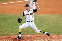 Iowa Hawkeyes pitcher Matt Dermody #40 delivers a pitch during a game against the Illinois State Redbirds at Chain of Lakes Stadium on March 11, 2012 in Winter Haven, Florida.  Illinois State defeated Iowa 10-6.  (Mike Janes/Four Seam Images)