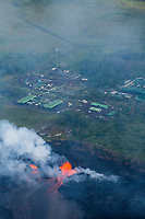 May 2018: An aerial view of the Kilauea Volcano eruption and Puna Geothermal Venture in Leilani Estates, Puna, Big Island of Hawai'i.