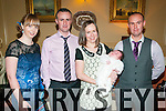 Baby Daithi Kissane with his parents Fiona & PJ Kissane, Glenoe, Listowel and god parents Linda Walsh & Mike Kissane who was christened in Our Lady  of the Wayside Church, Irremore by Fr. Gearard O'Connell on the 27th December and afterwards at the Listowel Arms Hotel.