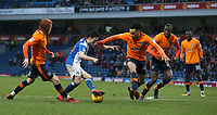 Blackburn Rovers' Jack Payne challenged by Oldham Athletic's Kean Bryan<br /> <br /> Photographer Stephen White/CameraSport<br /> <br /> The EFL Sky Bet League One - Blackburn Rovers v Oldham Athletic - Saturday 10th February 2018 - Ewood Park - Blackburn<br /> <br /> World Copyright &copy; 2018 CameraSport. All rights reserved. 43 Linden Ave. Countesthorpe. Leicester. England. LE8 5PG - Tel: +44 (0) 116 277 4147 - admin@camerasport.com - www.camerasport.com