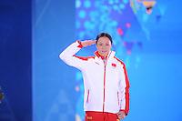 OLYMPICS: SOCHI: Medal Plaza, 14-02-2014, 1000m Ladies, podium, Hong Zhang (CHN), ©foto Martin de Jong