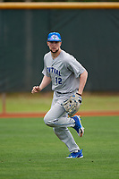 Central Connecticut State Blue Devils outfielder Mitch Guilmette (12) during warmups before a game against the North Dakota State Bison on February 23, 2018 at North Charlotte Regional Park in Port Charlotte, Florida.  North Dakota State defeated Connecticut State 2-0.  (Mike Janes/Four Seam Images)