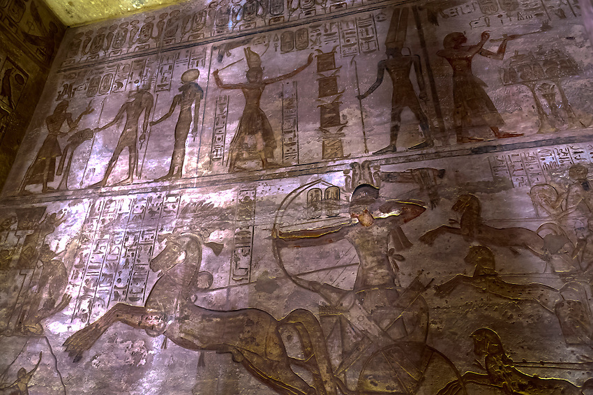 Hieroglyphics, The Great Temple, Abu Simbel (archaeological site) on Lake Nasser, Egypt
