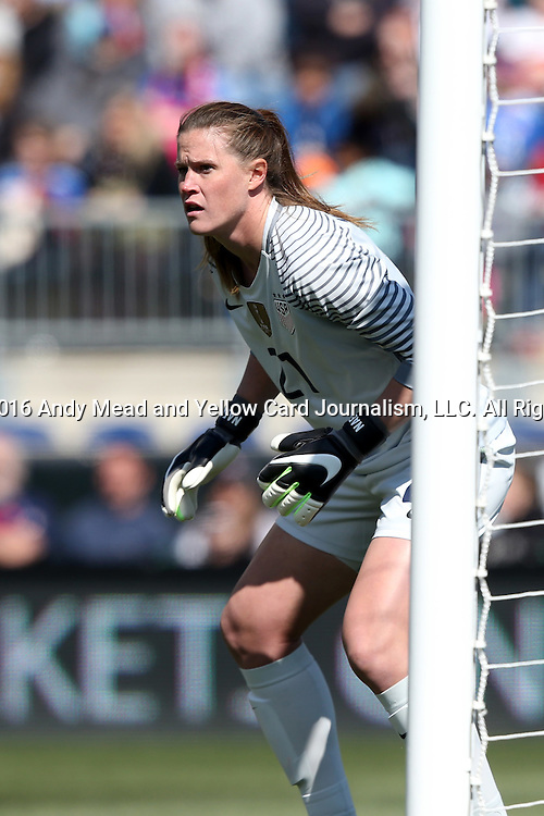 10 April 2016: Alyssa Naeher (USA). The United States Women's National Team played the Colombia Women's National Team at Talen Energy Stadium in Chester, Pennsylvania in an women's international friendly soccer game. The U.S. won the match 3-0.