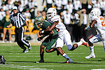 Texas Longhorns defensive end Naashon Hughes (40) in action during the game between the Texas Longhorns and the Baylor Bears at the McLane Stadium in Waco, Texas.