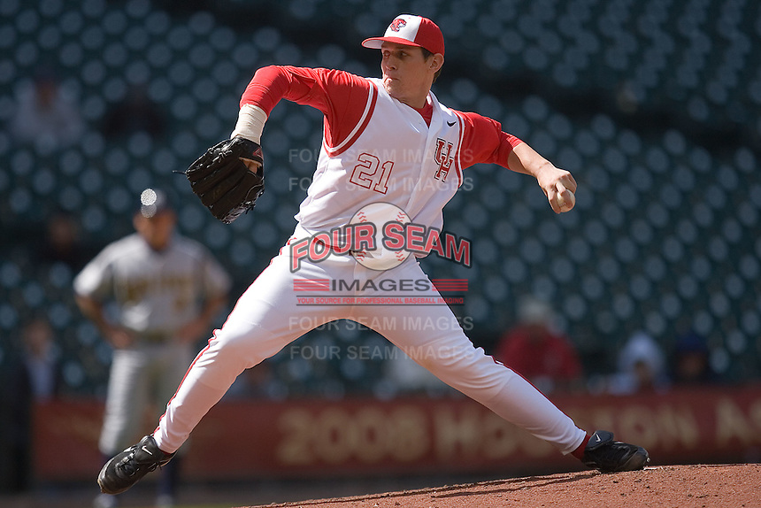 Starting pitcher Ty Stuckey #21 of the Houston Cougars in action versus the UC-Irvine Anteaters  in the 2009 Houston College Classic at Minute Maid Park February 28, 2009 in Houston, TX.  The Anteaters defeated the Cougars 13-7. (Photo by Brian Westerholt / Four Seam Images)
