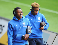 Preston North End's Darnell Fisher (left) and Callum Robinson arrive<br /> <br /> Photographer Kevin Barnes/CameraSport<br /> <br /> The EFL Sky Bet Championship - Swansea City v Preston North End - Saturday August 11th 2018 - Liberty Stadium - Swansea<br /> <br /> World Copyright &copy; 2018 CameraSport. All rights reserved. 43 Linden Ave. Countesthorpe. Leicester. England. LE8 5PG - Tel: +44 (0) 116 277 4147 - admin@camerasport.com - www.camerasport.com