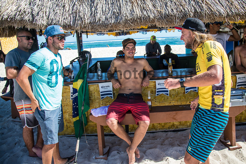 Namotu Island Resort, Nadi, Fiji (Friday, June 17 2016):   Adriano de Souza (BRA), Gabriel Medina (BRA) and  Matt Wilkinson (AUS) - The Fiji Pro, stop No. 5 of 11 on the 2016 WSL Championship Tour, wrapped up today at Cloudbreak with a consistent SSW swell in the 6'-8' range. Gabriel Medina (BRA)  took out the final over fellow goofy footer and ratings leader Matt Wilkinson (AUS). <br /> Medina has won twice in the last three years. The contest was completed in perfect conditions with a number of rides in the excellent range. Photo: joliphotos.com