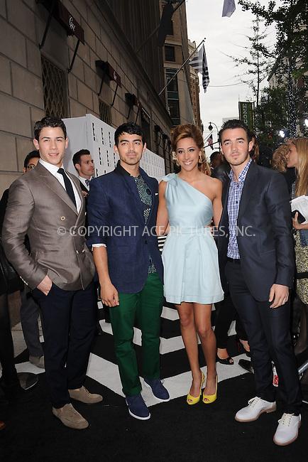 WWW.ACEPIXS.COM . . . . . .April 30, 2012...New York City....Nick Jonas, Joe Jonas, Kevin Jonas and Danielle Jonas arriving to attend the E! 2012 Upfront at Gotham Hall on April 30, 2012  in New York City ....Please byline: KRISTIN CALLAHAN - ACEPIXS.COM.. . . . . . ..Ace Pictures, Inc: ..tel: (212) 243 8787 or (646) 769 0430..e-mail: info@acepixs.com..web: http://www.acepixs.com .