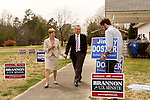 April 6, 2014. Durham, North Carolina.<br />   Edward Kryn, one of eight Republican candidates running for Democrat Kay Hagan's Senate seat, leaves the event.<br /> As the the primary scheduled for May 6th grows near, several of the the eight Republican candidates running for the US Senate seat of incumbent Democrat Kay Hagan have increased their public visibility, appearing at events such as the Durham County Lincoln Douglas Lunch, where each candidate was given a few minutes to address the gathered Republican friendly crowd.