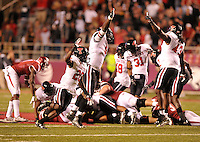 NWA Democrat-Gazette/MICHAEL WOODS • @NWAMICHAELW<br /> Texas Tech players react after University of Arkansas runningback Alex Collins looses a fumble the 4th quarter of Saturday nights game against Texas Tech at Razorback Stadium in Fayetteville.