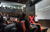 "Emily Linebarger '16 talks about ""The Paradigm of Poverty.""<br />