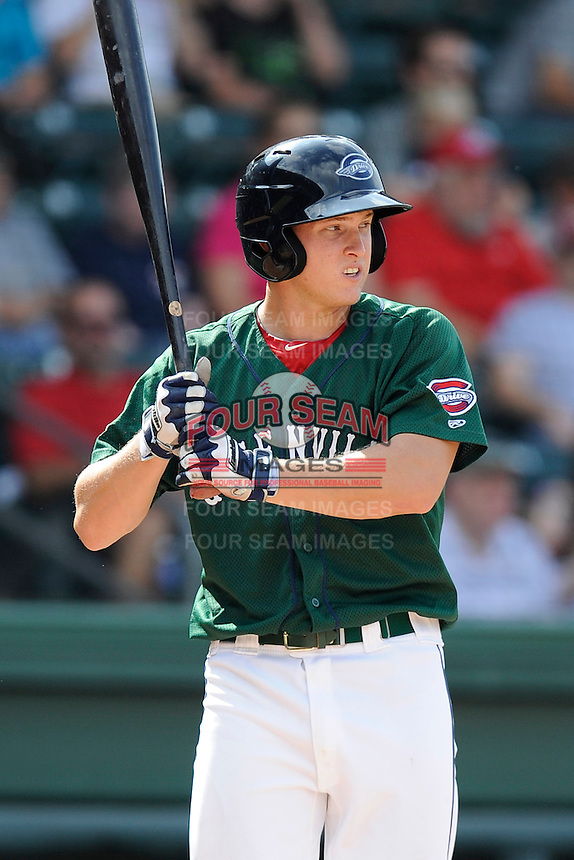 Left fielder Kevin Mager (24) of the Greenville Drive bats in a game against the Savannah Sand Gnats on Sunday, August 24, 2014, at Fluor Field at the West End in Greenville, South Carolina. Greenville won, 8-5. (Tom Priddy/Four Seam Images)