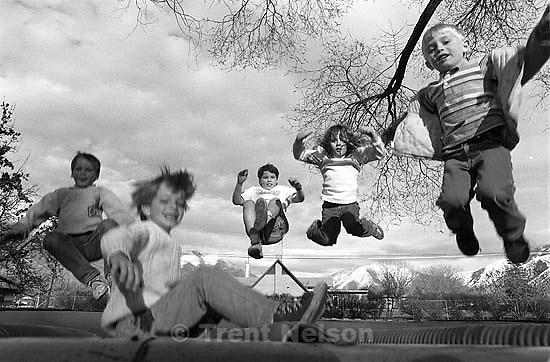 Kids on trampoline.<br />