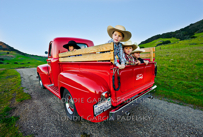 Country kids in the 1949 Ford Truck, San Luis Obispo, California
