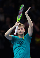 David Goffin of Belgium (7) celebrates his victory over Rafael Nadal of Spain (1) in their Group Pete Sampras Match today - Goffin def Nadal 7-6, 6-7, 6-4<br /> <br /> Photographer Ashley Western/CameraSport<br /> <br /> International Tennis - Nitto ATP World Tour Finals - O2 Arena - London - Day 2  - Monday 13th November 2017<br /> <br /> World Copyright &not;&copy; 2017 CameraSport. All rights reserved. 43 Linden Ave. Countesthorpe. Leicester. England. LE8 5PG - Tel: +44 (0) 116 277 4147 - admin@camerasport.com - www.camerasport.com