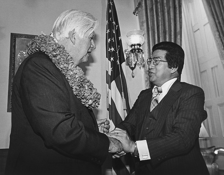 Rep. Daniel Akaka, D-Hawaii, swearing in with Speaker of the House Rep. Tip O'Neill, D-Mass. 1978 (Photo by CQ Roll Call via Getty Images)
