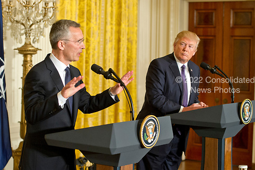 United States President Donald J. Trump and Secretary General Jens Stoltenberg of NATO conduct a joint press conference in the East Room of the White House in Washington, DC on Wednesday, April 12, 2017.<br /> Credit: Ron Sachs / CNP