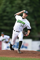Jamestown Jammers pitcher Tyler Eppler (36) delivers a warmup pitch during a game against the Vermont Lake Monsters on July 12, 2014 at Russell Diethrick Park in Jamestown, New York.  Jamestown defeated Vermont 3-2.  (Mike Janes/Four Seam Images)