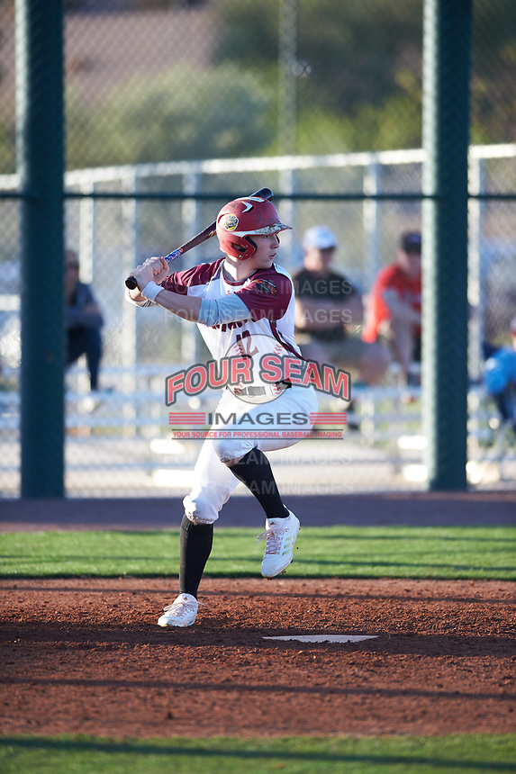 Aidan Thomas (12) of O'Gorman High School in Sioux Falls, South Dakota during the Baseball Factory All-America Pre-Season Tournament, powered by Under Armour, on January 13, 2018 at Sloan Park Complex in Mesa, Arizona.  (Zachary Lucy/Four Seam Images)