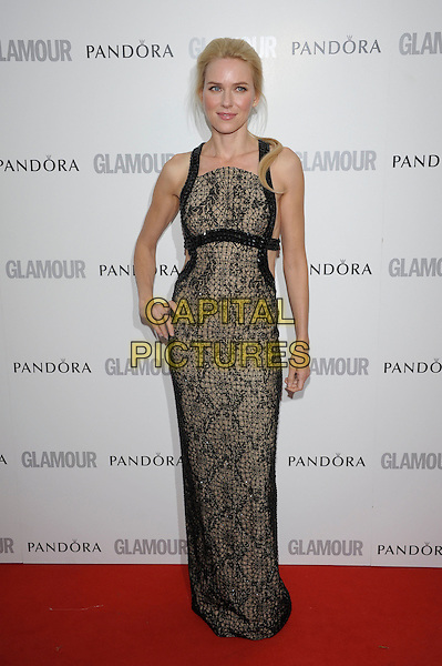 Naomi Watts.Women Of The Year 2012 - Glamour Awards, Berkeley Square, London, England..29th May 2012.full length dress black brown print lace hand on hip.CAP/PL.©Phil Loftus/Capital Pictures.