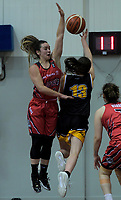 Canterbury's Shea Crotty tries to block Taranaki's Nicole Cutler during the 2018 Women's Basketball League match between Canterbury Wildcats and Taranaki Thunder at Cowles Stadium in Christchurch, New Zealand on Sunday, 24 June 2018. Photo: Dave Lintott / lintottphoto.co.nz