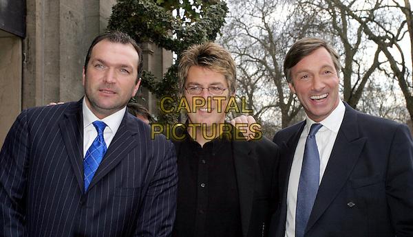 "NEIL ""RAZOR"" RUDDOCK, MIKE REID & LORD CHARLES BROCKETT.TRIC Awards at Le Meridien Grosvenor House.09 March 2004.headshot, portrait.www.capitalpictures.com.sales@capitalpictures.com.© Capital Pictures."