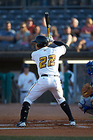 Deon Stafford (22) of the West Virginia Power at bat against the Lexington Legends at Appalachian Power Park on June 7, 2018 in Charleston, West Virginia. The Power defeated the Legends 5-1. (Brian Westerholt/Four Seam Images)