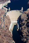 Aerial of Colorado River and Hoover Dam on border of Arizona, AZ, Nevada, NV, water source, flood control, landscape, engineering feat, image nv440-18738.Photo copyright: Lee Foster, www.fostertravel.com, lee@fostertravel.com, 510-549-2202