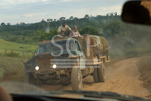 Xingu, Pará State, Brazil. The  timber this lorry is carrying is almost certainly illegal.