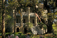 "mansion, Beaufort, South Carolina, antebellum, SC, Joseph Johnson House """"The Castle"""" in the Historic District in the town of Beaufort in the spring."