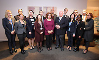 Pictured: Elona Gjebrea, Deputy Minister and National TBH Co-ordinator of Albania, Stephen Chapman, Welsh Government Anti-slavery Co-ordinator (both C) with their delegations Thursday 02 March 2017<br /> Re: Multi-agency Wales and Albania Anti-Slavery Meeting discussing issues of people trafficking by organised gangs, Cardiff, UK