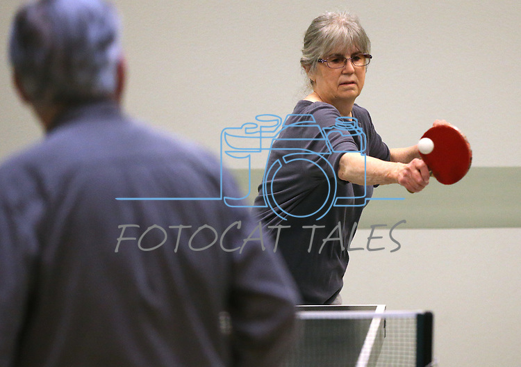 Shirley Ling practices for the Reno Tahoe Senior Games table tennis competition at the Carson City Senior Citizen Center in Carson City, Nev., on Friday, Jan. 29, 2016. <br /> Photo by Cathleen Allison